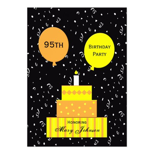 95th Birthday Party Invitation Fun Cake
