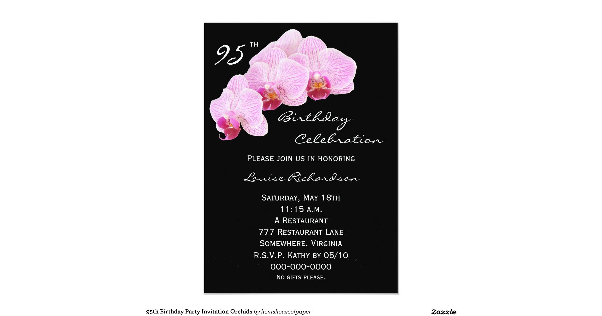 95th Birthday Party Invitation Orchids SAVE Celebration