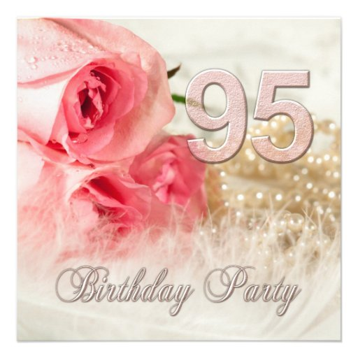 95th Birthday Party Invitation Roses And Pearls