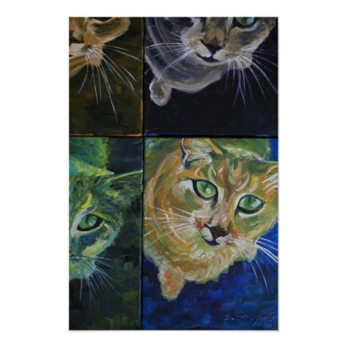 9 Lives: one cat, 4 views print