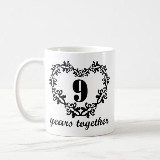 9th Year Wedding Anniversary Gifts: 9th Anniversary 9 Years Together Heart Gift Mug