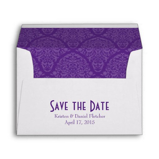 A7 5x7 Purple White Save The Date Envelopes