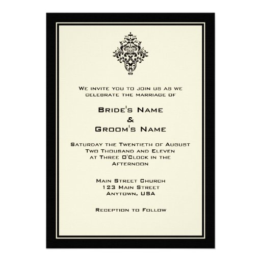 "Simple Wedding Invitation Wording: A7 Cream & Black Simple Wedding Invitations 5"" X 7"