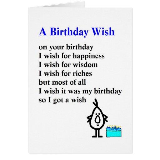 A Birthday Wish - A Funny Birthday Poem Card