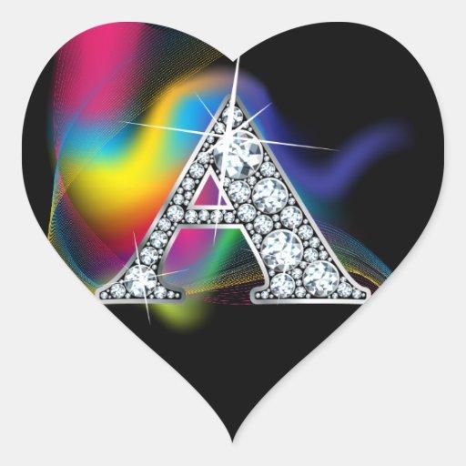 Quot A Quot Diamond Bling On Rainbow Swirl Heart Sticker Zazzle