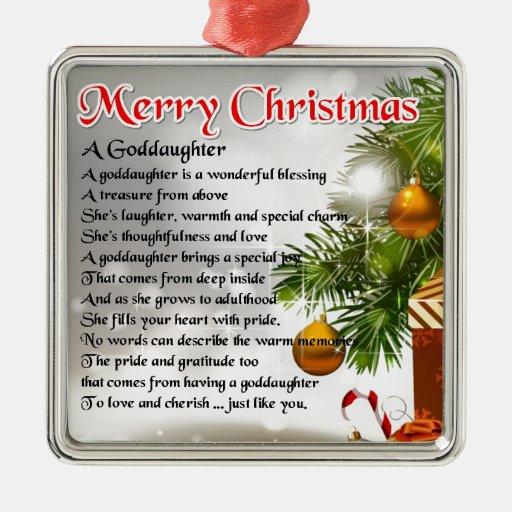 A goddaughter poem - Christmas design Metal Ornament | Zazzle