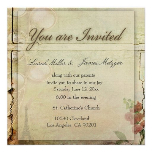 "Wedding Invitations Old Fashioned: A Little Old Fashioned Wedding Invite 5.25"" Square"