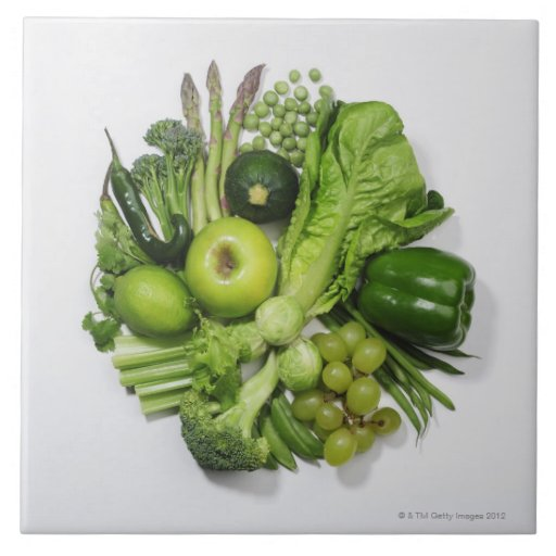 A Selection Of Green Fruits Amp Vegetables Ceramic Tile