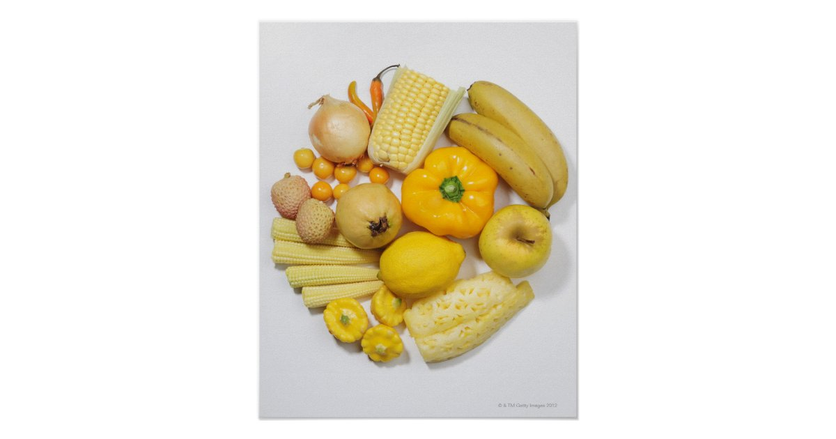 A selection of yellow fruits & vegetables. poster | Zazzle