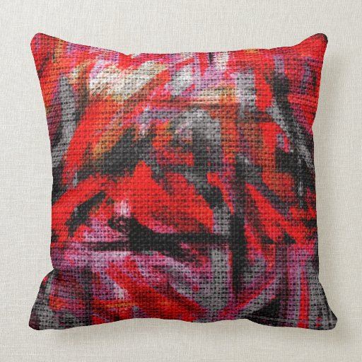 Abstract Color Paint Brush Rustic Burlap #15 Pillows