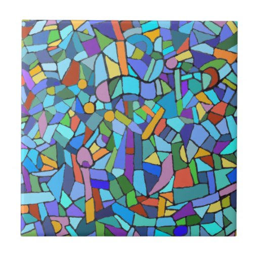 Abstract Colorful Blue Mosaic Pattern Ceramic Tile Zazzle