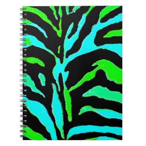 abstract green and blue zebra print 2 spiral notebook zazzle. Black Bedroom Furniture Sets. Home Design Ideas