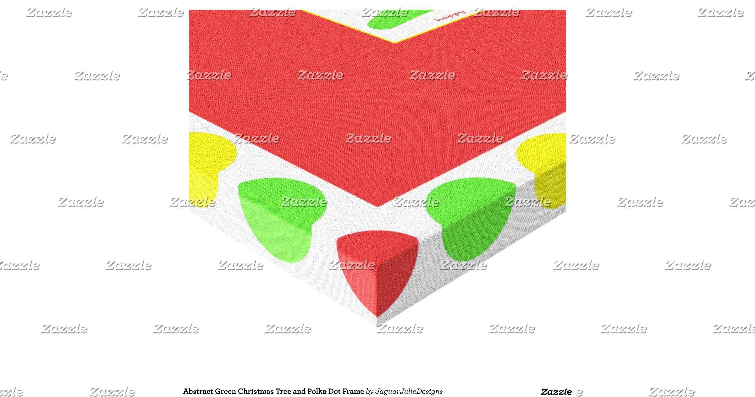 Abstract Green Christmas Tree And Polka Dot Frame Gallery