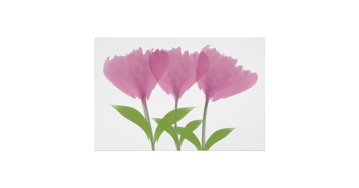 Abstract Minimalistic Watercolor Peony Bouquet Poster | Zazzle