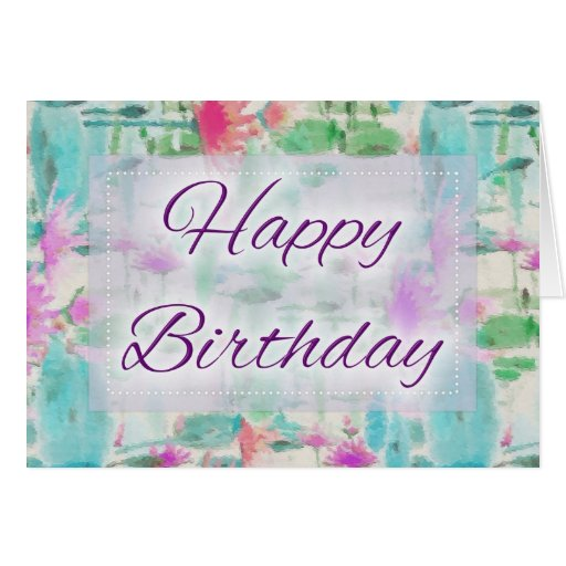 Abstract Oil Painting Happy Birthday Card Design 3