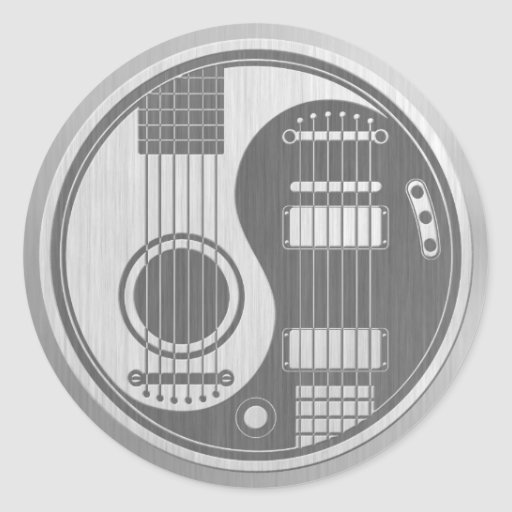acoustic electric guitars yin yang stainless steel classic round sticker zazzle. Black Bedroom Furniture Sets. Home Design Ideas