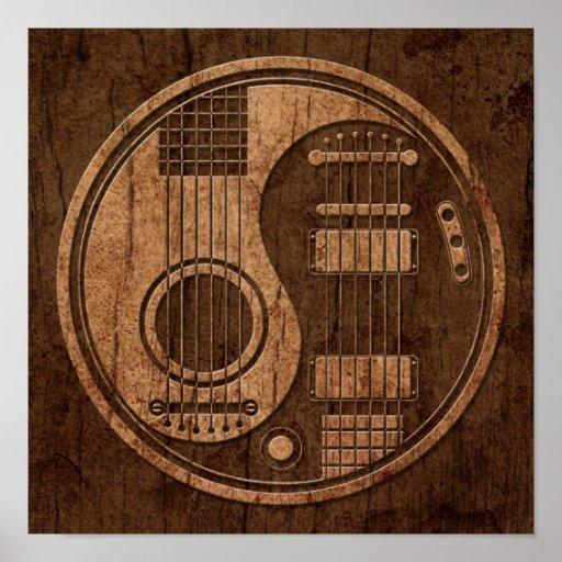 Acoustic Electric Guitars Yin Yang Wood Effect Poster Zazzle