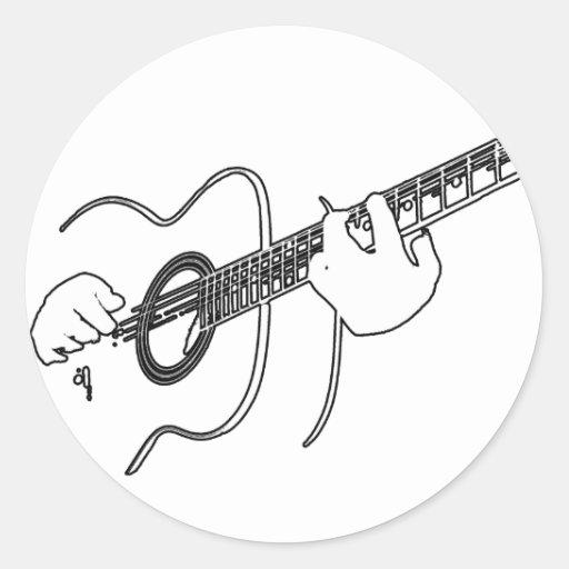 acoustic guitar classic round sticker zazzle. Black Bedroom Furniture Sets. Home Design Ideas