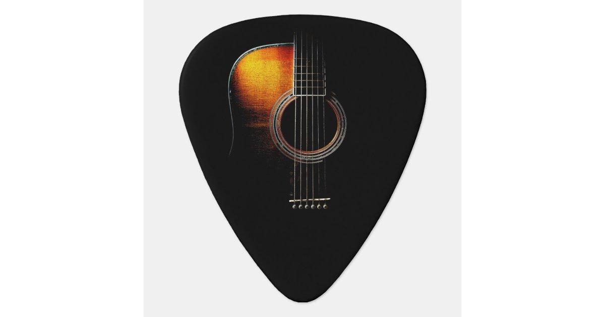 acoustic guitar design plectrum version 4 guitar pick zazzle. Black Bedroom Furniture Sets. Home Design Ideas