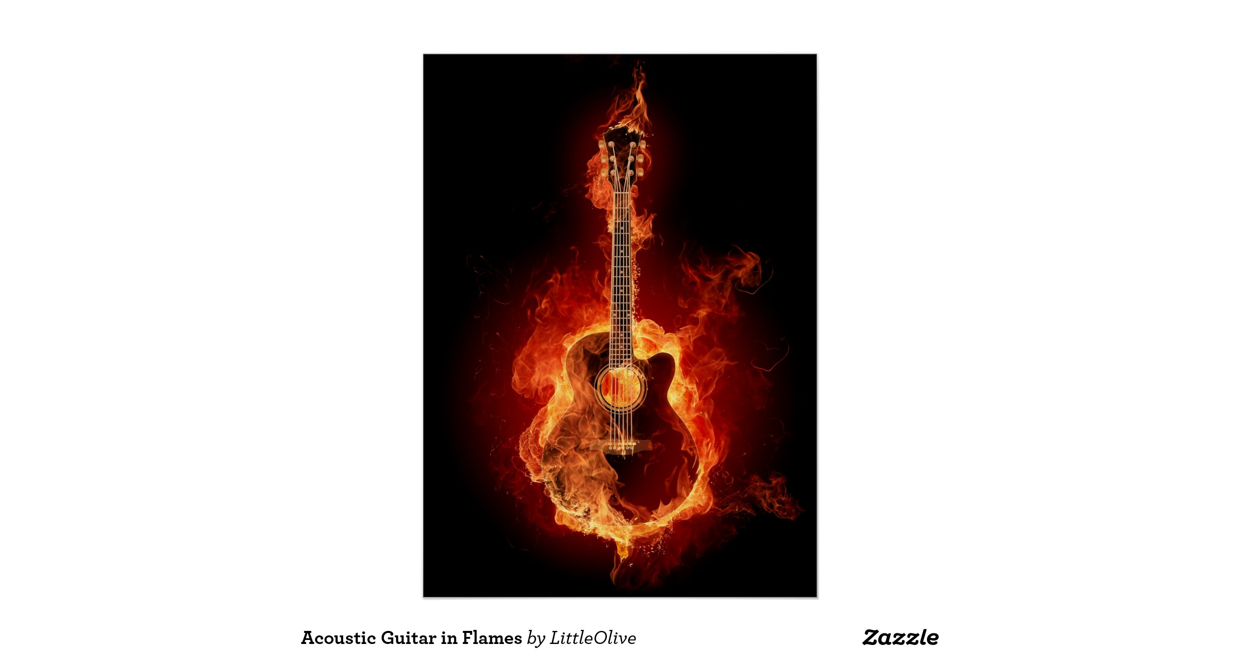 guitar acoustic fire flame - photo #15