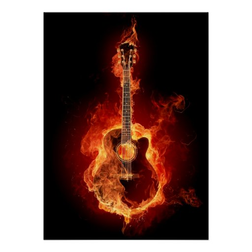guitar acoustic fire flame - photo #7