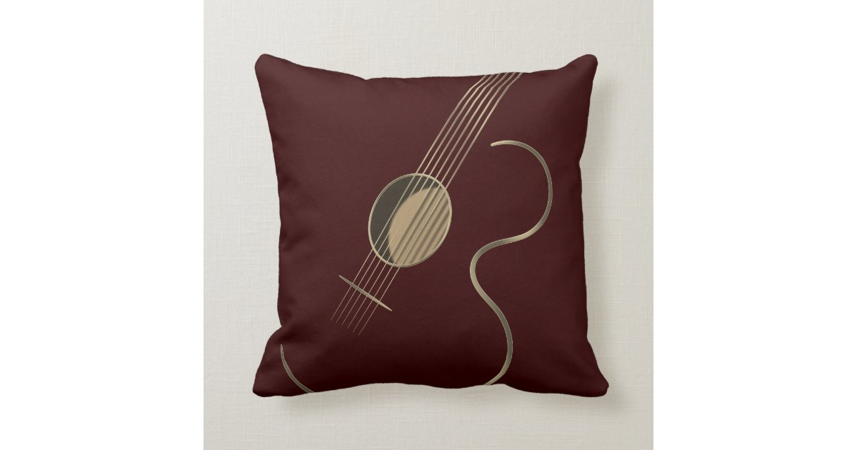 Acoustic Guitar Logo Throw Pillow
