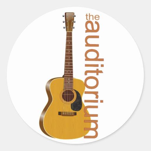 acoustic guitar the auditorium round stickers zazzle. Black Bedroom Furniture Sets. Home Design Ideas