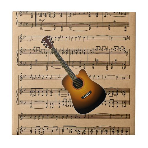 acoustic guitar with sheet music background ceramic tile zazzle. Black Bedroom Furniture Sets. Home Design Ideas