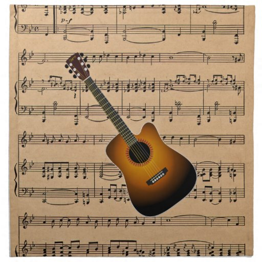 acoustic guitar with sheet music background napkin zazzle. Black Bedroom Furniture Sets. Home Design Ideas