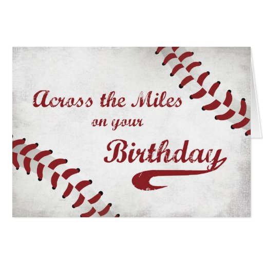 Across The Miles Happy Birthday Large Grunge Baseb Card