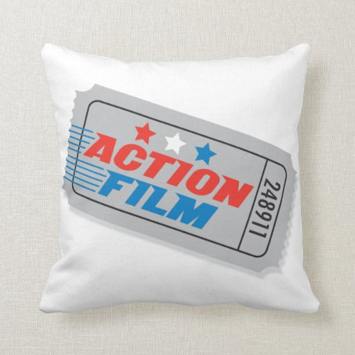 Lacefield Designs Pillows Being Filmed By The Press In The: Action Film Movie Ticket Pillow €� Square