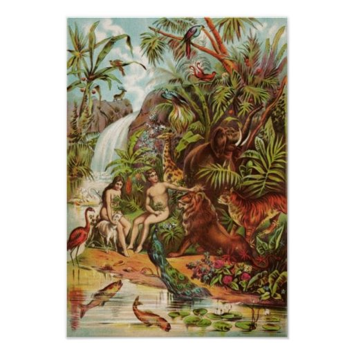 Adam And Eve In The Garden Poster Zazzle