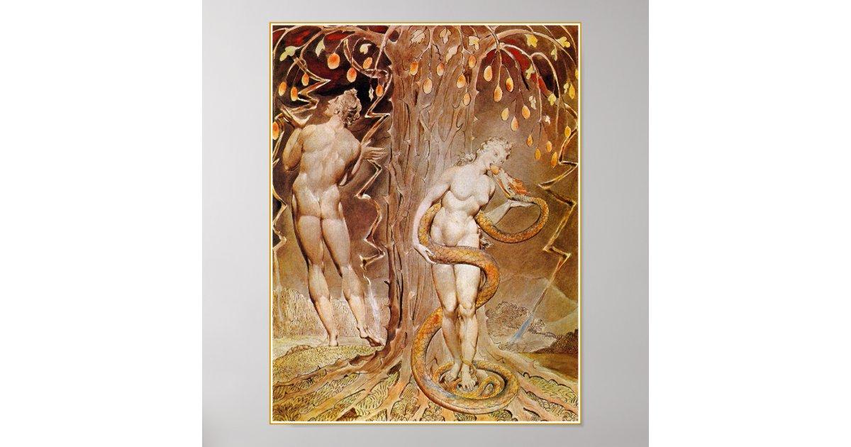 Adam Eve amp Serpent in the Garden of Eden by Blake Poster