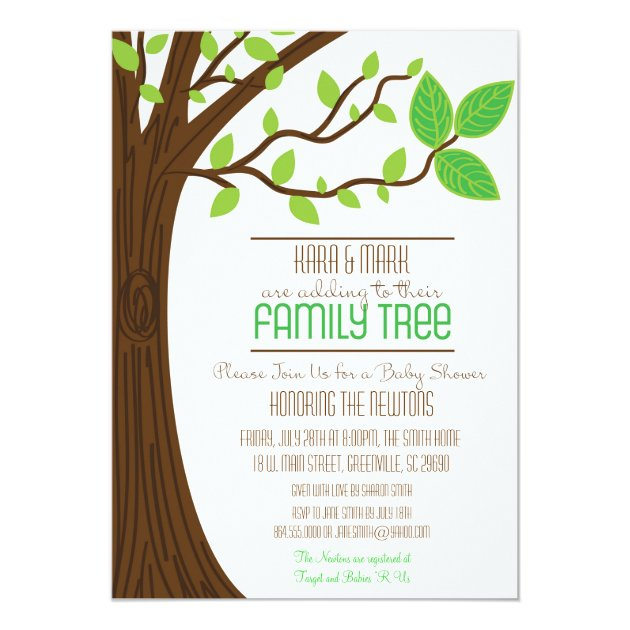 Family Baby Shower Invitations: Adding To Their Family Tree Baby Shower Invitation