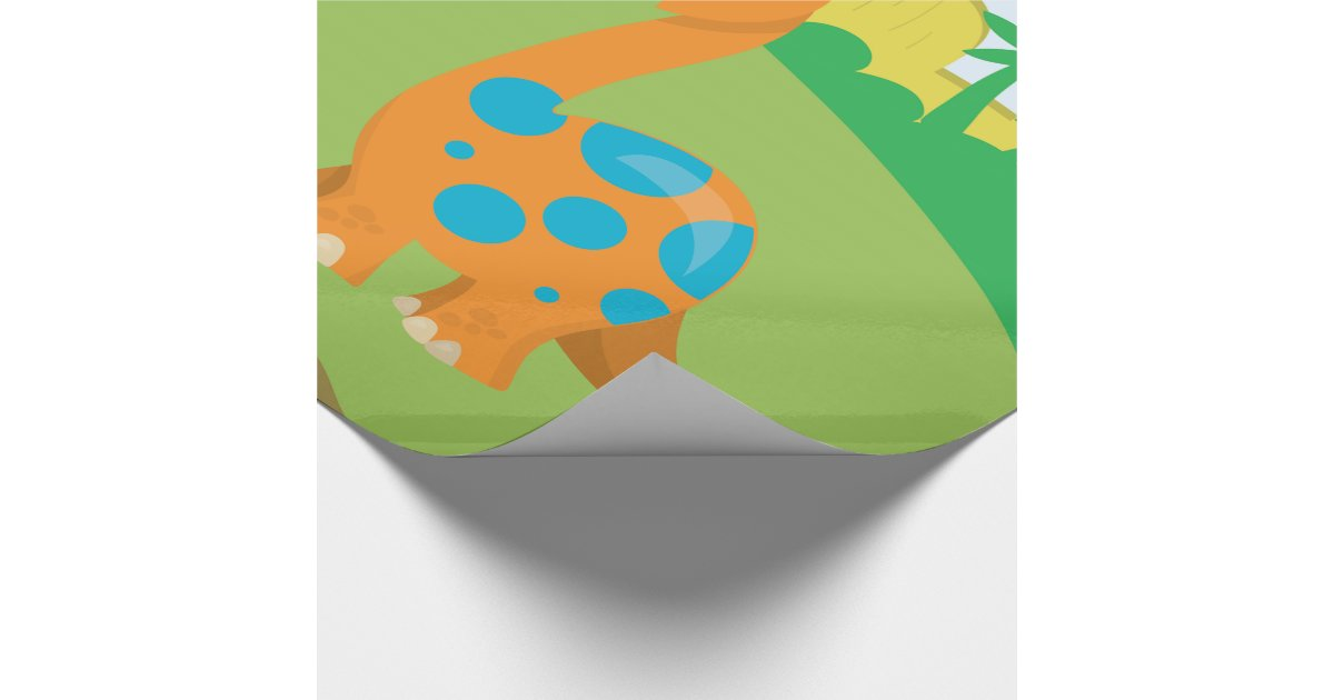 Adorable Dinosaur Wrapping Paper Zazzle