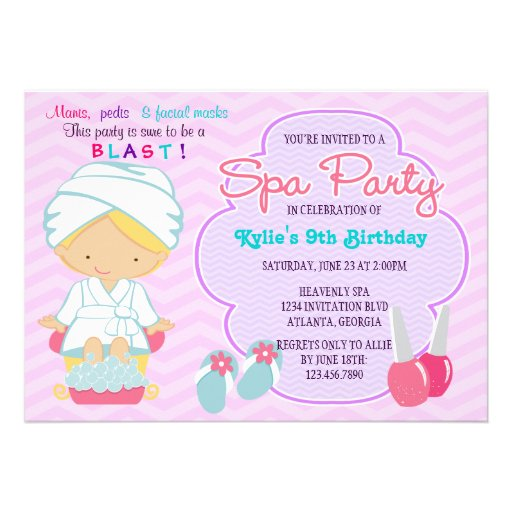 Personalized Pamper Party Invitations