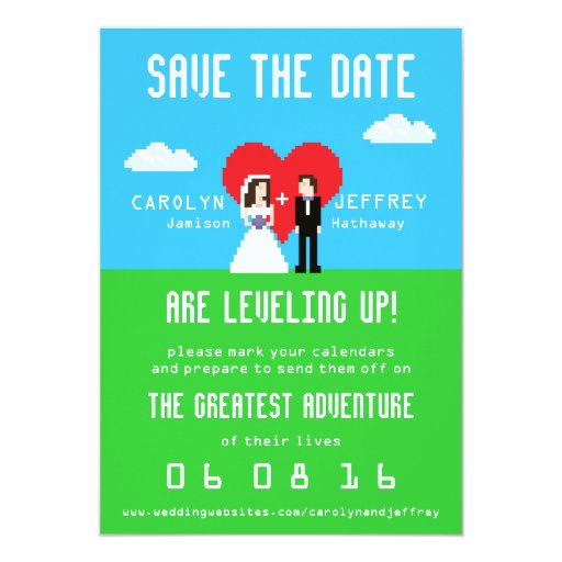 Nerdy Wedding Invites: Adorably Nerdy 8-Bit Save The Date Invite