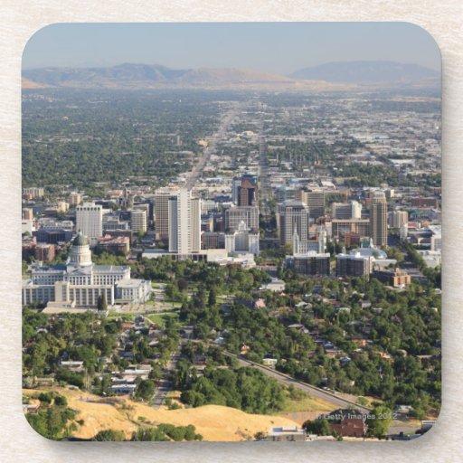 Downtown Salt Lake City Ut: Aerial View Of Downtown Salt Lake City, Utah Coaster