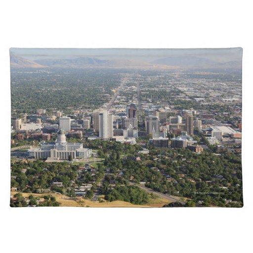 Downtown Salt Lake City Ut: Aerial View Of Downtown Salt Lake City, Utah Placemat