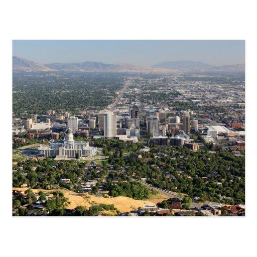 Downtown Salt Lake City Ut: Aerial View Of Downtown Salt Lake City, Utah Postcard