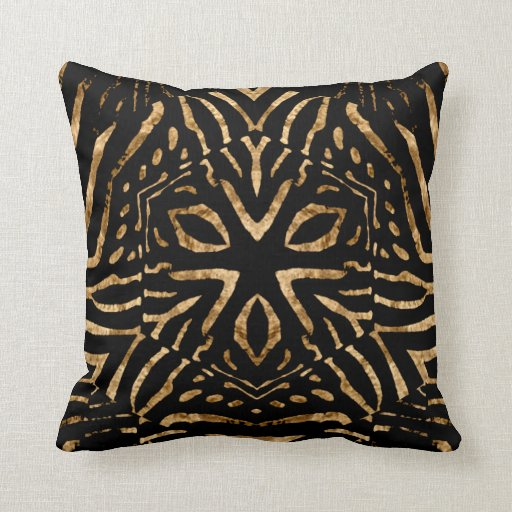 africa wild pillows zebra black gold stripe throw pillows zazzle. Black Bedroom Furniture Sets. Home Design Ideas