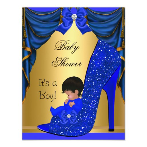 African American Baby Shower Boy Blue Gold Shoe Card Zazzle