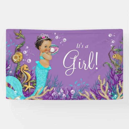African American Ethnic Mermaid Baby Shower Banner Zazzle