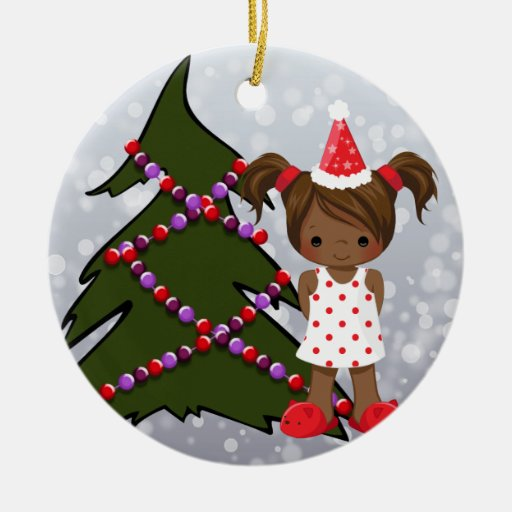 African American Girl Christmas Ornament
