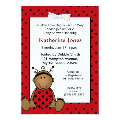 African American Ladybug Baby Shower Invitation