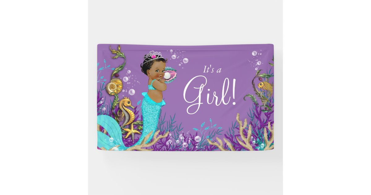 African American Mermaid Baby Shower Banner Zazzle
