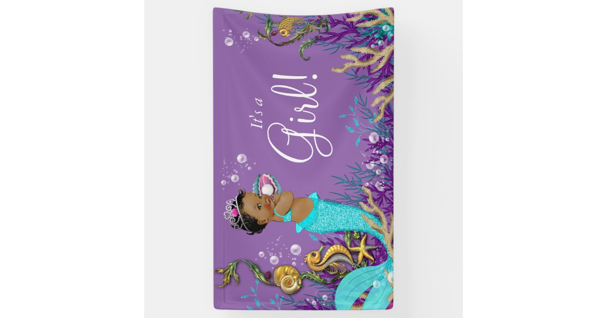African American Mermaid Baby Shower Banner Zazzle