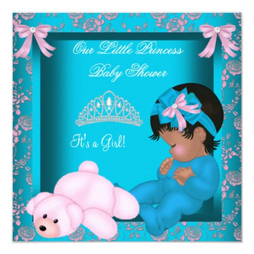 African American Princess Baby Shower Teal Pink Invitation