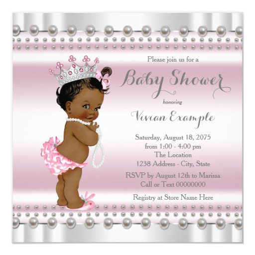 African American Princess Pearl Ethnic Baby Shower