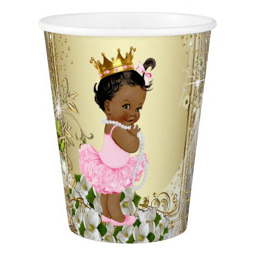 African American Princess Pink Gold Baby Shower Paper Cup ...